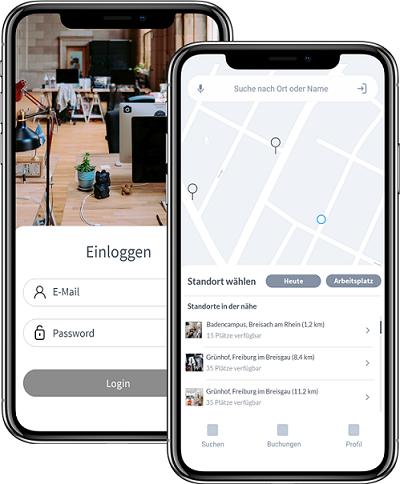 avegoo-App mit zwei screens IphoneX. Abbildung Navigation und Log-in der App